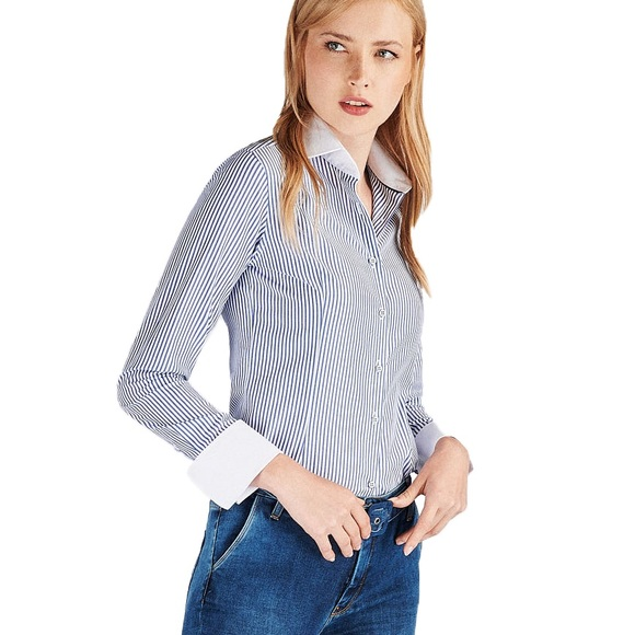 Banana Republic Fitted Stripe Button-Down Top